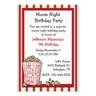 Convite de aniversário da pipoca do divertimento