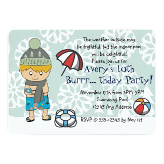 Convite de aniversário da piscina interior do