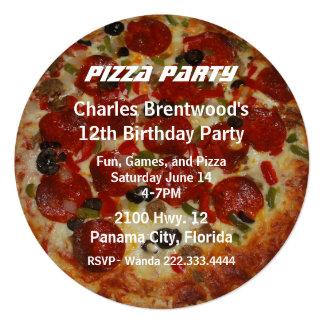 Convite de aniversário da pizza