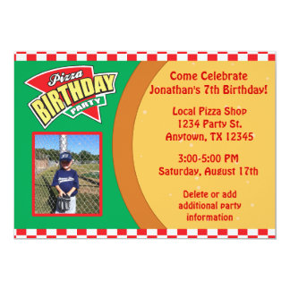 Convite de aniversário da pizza com foto