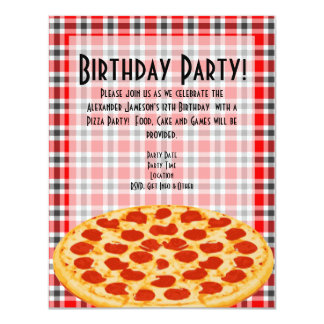 Convite de aniversário da pizza, design do