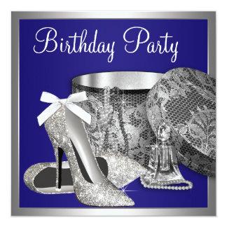 Convite de aniversário da prata dos azuis marinhos