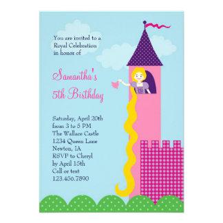 Convite de aniversário da princesa Rapunzel