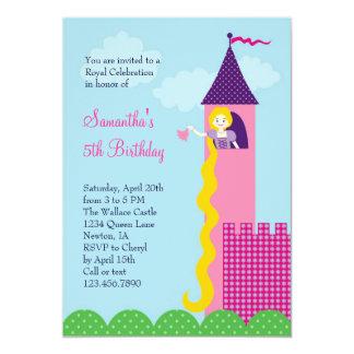 Convite de aniversário da princesa Rapunzel Convite 12.7 X 17.78cm