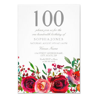 Convite de aniversário da rosa vermelha 100th