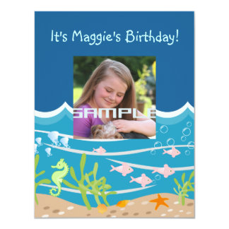 Convite de aniversário da sereia e dos golfinhos