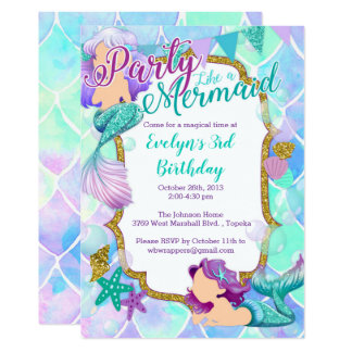 Convite de aniversário da sereia - encanto do