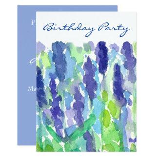 Convite de aniversário das flores 50th da lavanda