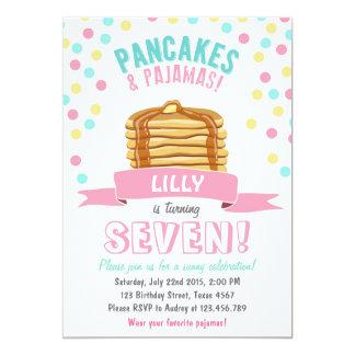 Convite de aniversário das panquecas e dos pijamas
