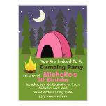 Convite de aniversário de acampamento da barraca