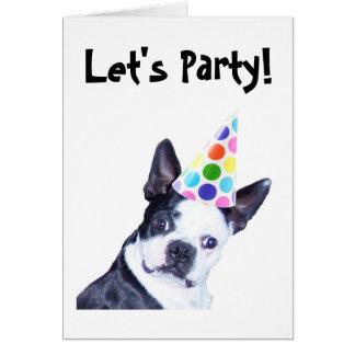 Convite de aniversário de Boston Terrier