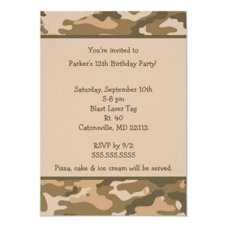 Convite de aniversário de Brown do exército de Convite 12.7 X 17.78cm