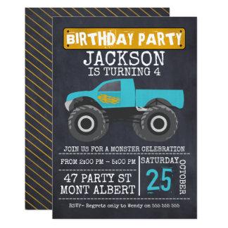 Convite de aniversário de Chalboard do monster