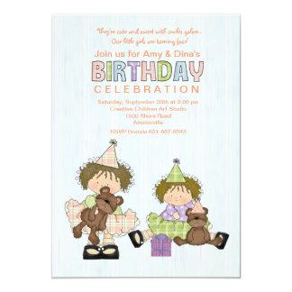 Convite de aniversário de Cuties das irmãs do