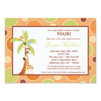 convite de aniversário de Giraff do safari de