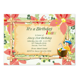 Convite de aniversário de Luau