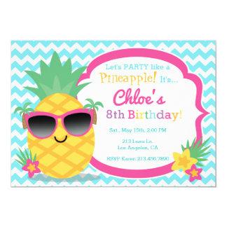 Convite de aniversário de Luau do abacaxi