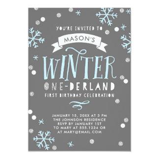 Convite de aniversário de Onederland do inverno
