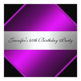 Convite de aniversário de prata roxo