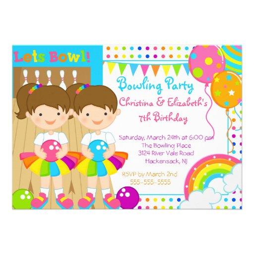 Convite de aniversário de rolamento das meninas gê