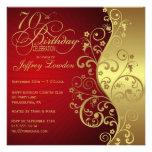 Convite de aniversário do 70 do vermelho & do ouro