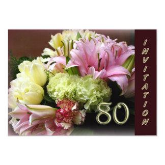 convite de aniversário do 80 - buquê da flor