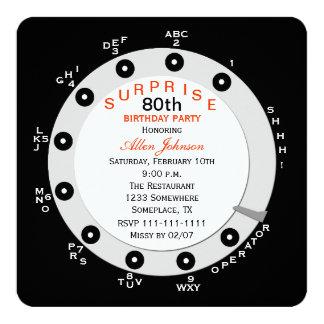 Convite de aniversário do 80 da surpresa giratório