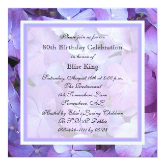 convite de aniversário do 80 - Hydrangeas