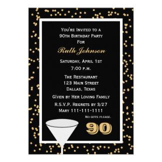 convite de aniversário do 90 -- 90 e confetes