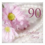 convite de aniversário do 90 com margaridas