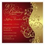 Convite de aniversário do 90 do vermelho & do ouro
