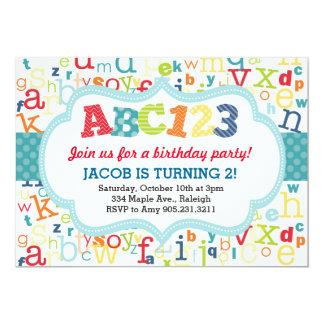 Convite de aniversário do alfabeto