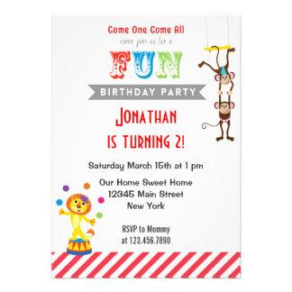 Convite de aniversário do animal de circo do diver