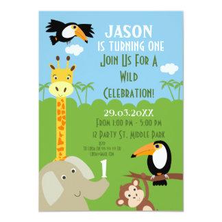 Convite de aniversário do animal do safari