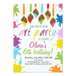 Convite de aniversário do arco-íris da arte