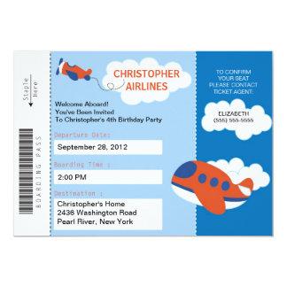 Convite de aniversário do avião da passagem de