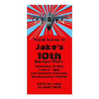 Convite de aniversário do avião de combate