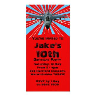 Convite de aniversário do avião de combate cartão com foto