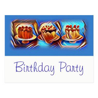Convite de aniversário do azul da arte do bolo