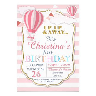 Convite de aniversário do balão de ar quente