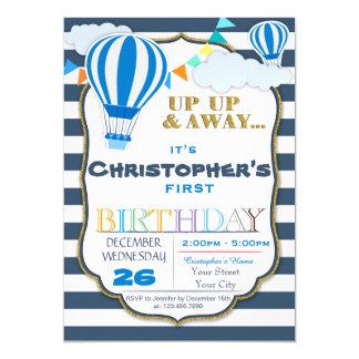 Convite de aniversário do balão de ar quente,