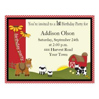Convite de aniversário do bebê do fazendeiro