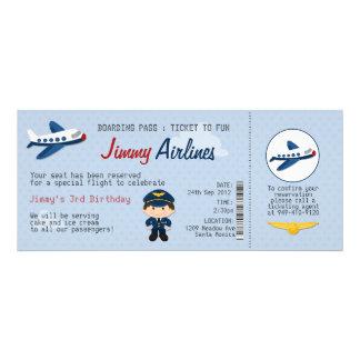 Convite de aniversário do bilhete de avião dos miú