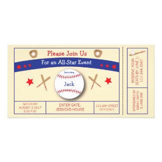 Convite de aniversário do bilhete do basebol