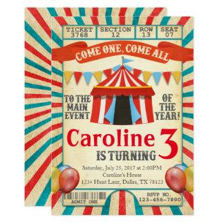 Convite de aniversário do bilhete do circo do