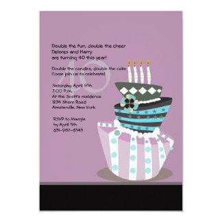 Convite de aniversário do bolo Tipsy Convite 12.7 X 17.78cm