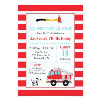 Convite de aniversário do bombeiro da viatura de