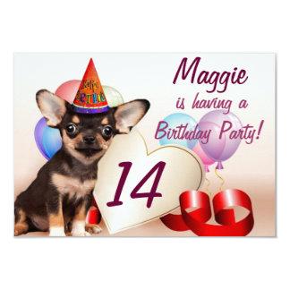 Convite de aniversário do cão da chihuahua