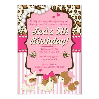 Convite de aniversário do cão de filhote de