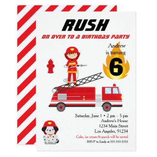 Convite de aniversário do carro de bombeiros